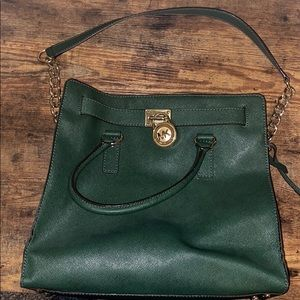 Forest green Michael Kors large tote bag